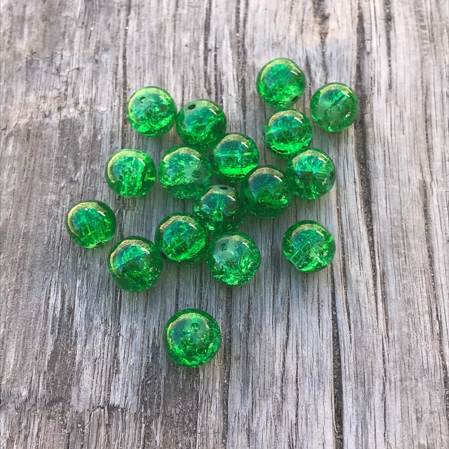 10mm Green 25 Glass Loose Crackle Beads Beads 1.4mm Hole AB11