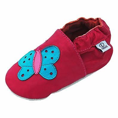 sale retailer 21ae4 88736 Lappade Lauflernschuhe Lederpuschen Hausschuhe Babyschuhe Krabbelschuhe mit  Gummisohle Gr.19-31 Schmetterling Art.82G