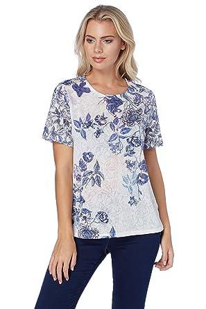 1ca1f05e805ac Roman Originals Women Floral Burnout Print Top - Ladies Casual T-Shirt  Short Sleeves Weekend Work Nice Tops - Blue  Amazon.co.uk  Clothing