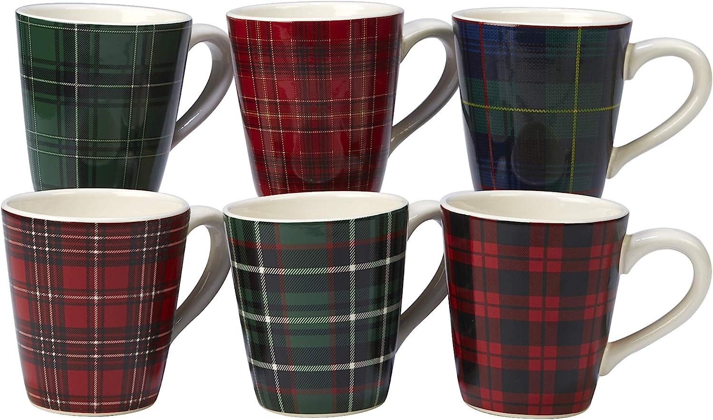 Certified International Christmas Plaid 16 oz. Mug, Set of 6 Assorted Designs, One Size, Mulicolored