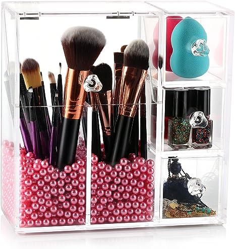 Hbf Organisateur Acrylique Maquillage Pinceaux Boite Cosmetique Coffret Avec Des Perles Roses Amazon Fr Beaute Et Parfum