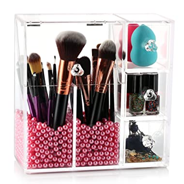 hblife Makeup Brush Holder, Acrylic Makeup Organizer with 2 Brush Holders and 3 Drawers Dustproof Box with Free Pearl