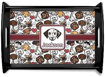 Perro caras negro bandeja de madera (personalizado)