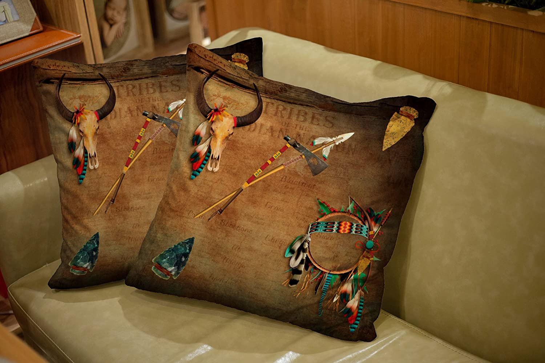 TOMWISH 2 PACKS Hidden Zippered Pillowcase native american buffalo skull arrowhead indian 18X18Inch,Decorative Throw Custom Cotton Pillow Case Cushion Cover for Home