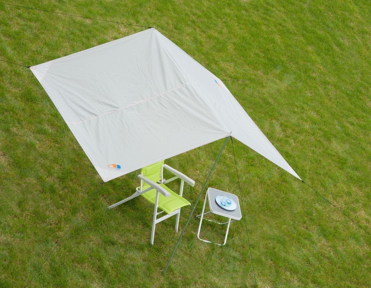 Frankana TARP Basic Sun Shelter Sail & pali camping caravan grigio chiaro 4 x 6 m