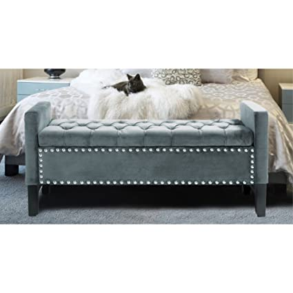 Excellent Iconic Home Jesse Modern Button Tufted Slate Blue Velvet Storage Bench Bralicious Painted Fabric Chair Ideas Braliciousco