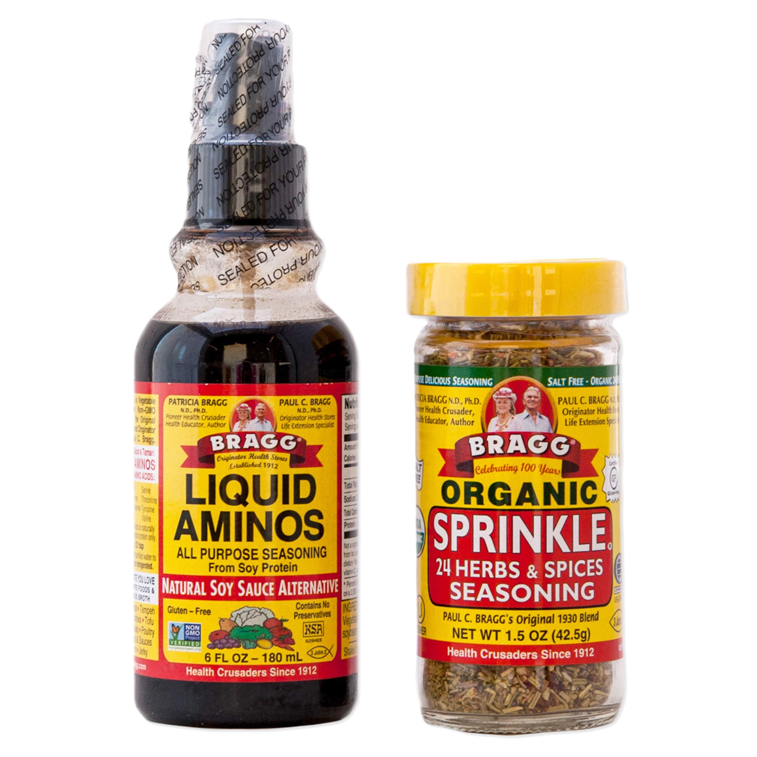 Braggs Organic Sprinkle Seasoning Braggs Liquid Aminos Bundle Bragg Sprinkle Herb And Spice Seasoning 1.5 oz Bragg Liquid Aminos Spray 6 Oz Bragg Seasoning For Cooking