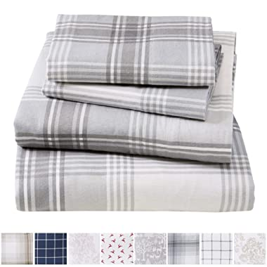 Extra Soft Plaid 100% Turkish Cotton Flannel Sheet Set. Warm, Cozy, Lightweight, Luxury Winter Bed Sheets. Belle Collection (Queen, Plaid - Grey)