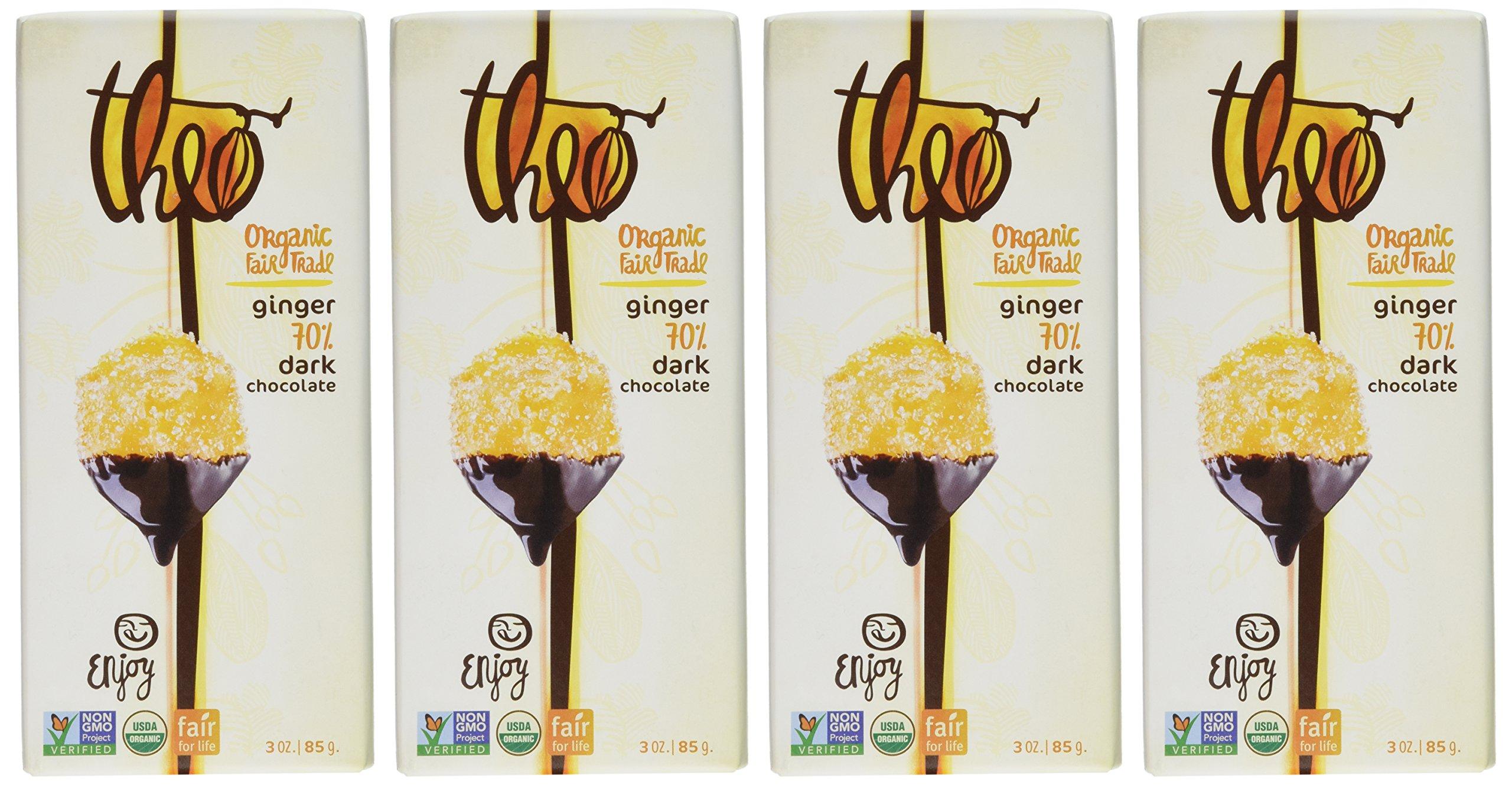 Theo Organic Fair Trade Sea Salt 70% Dark Chocolate, 3 Oz (Pack of 4)