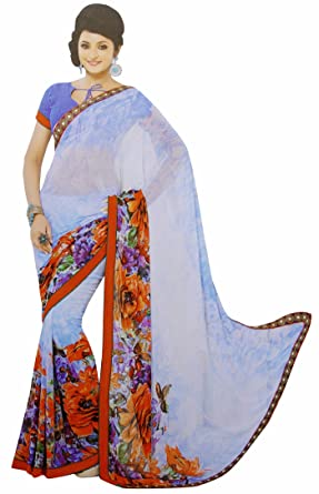 928f5f73c8 Elegant Indian Georgette Fashion Saree Floral Print Women Ethnic Wear with  Blouse: Amazon.co.uk: Clothing