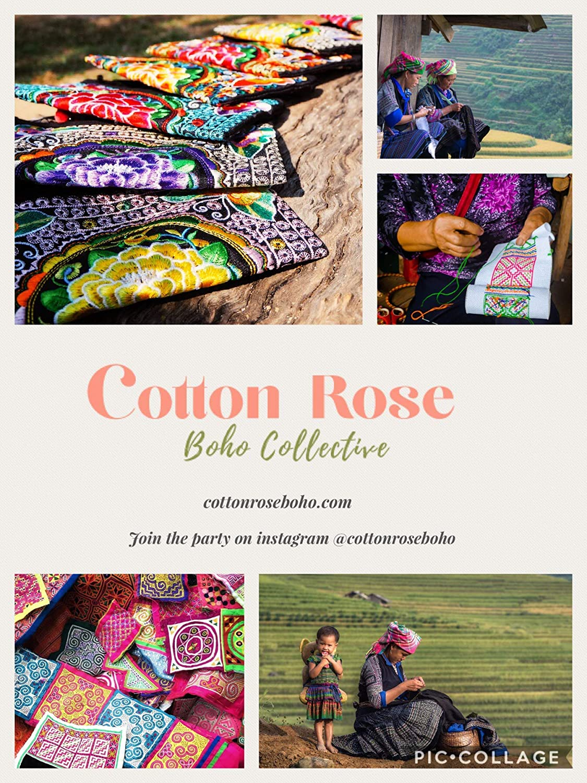 Amazon.com: Rosa de algodón, embrague bordado, muñeca Boho ...