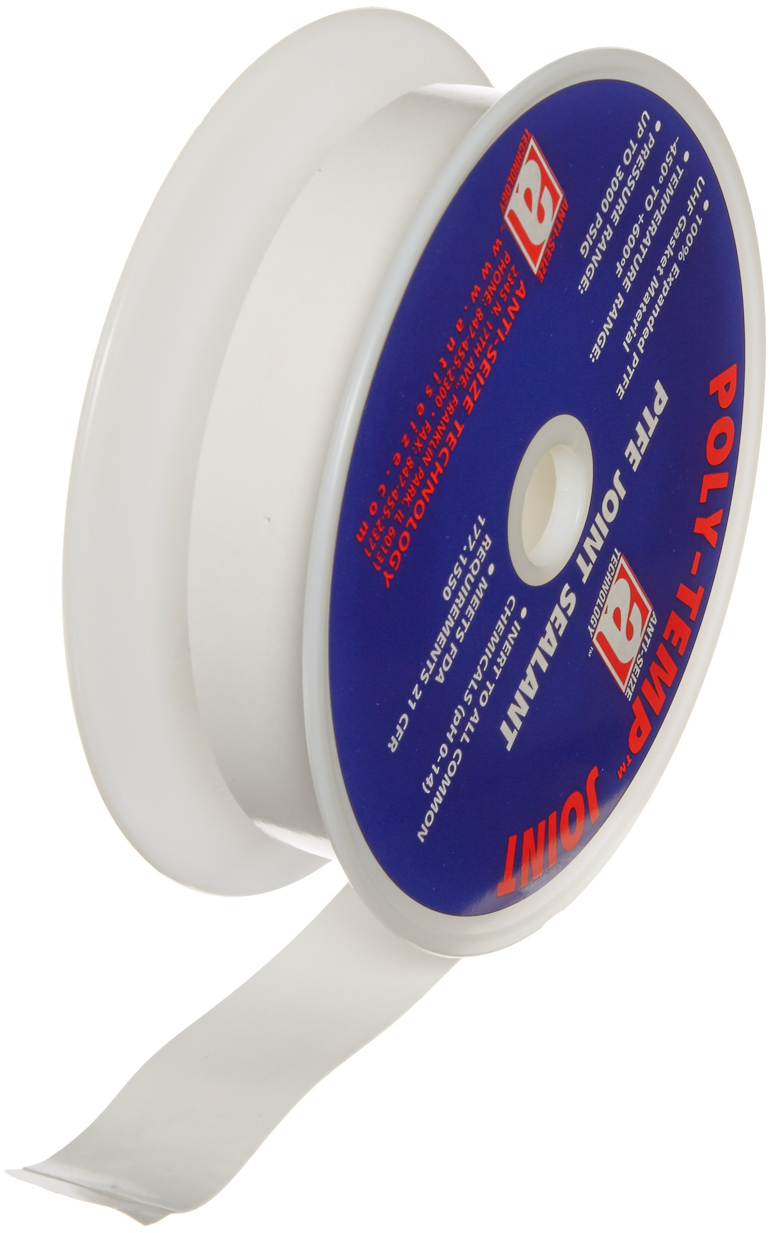 Poly-Temp 38101 White 100% PTFE Gasket Tape, 10 Mil Thickness, 1'' x 50' by Anti-Seize Technology