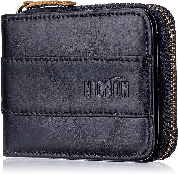 Genuine Leather Casual Men/'s Wallet Zipper long pièce argent ID Card Holder Purse
