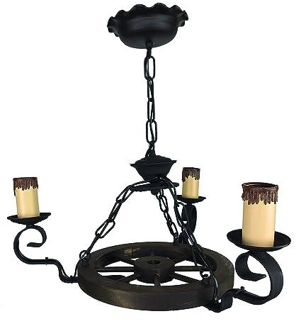 Lámpara rústica con rueda de carro 3 luces. Diámetro total ...