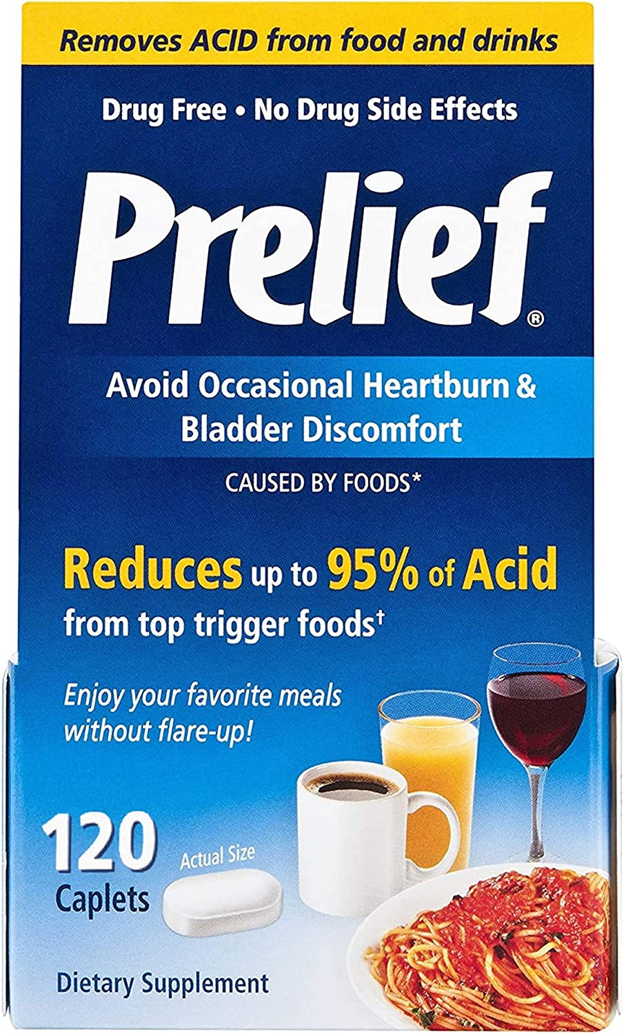 Prelief Acid Reducer Caplets Dietary Supplement, 120 Count