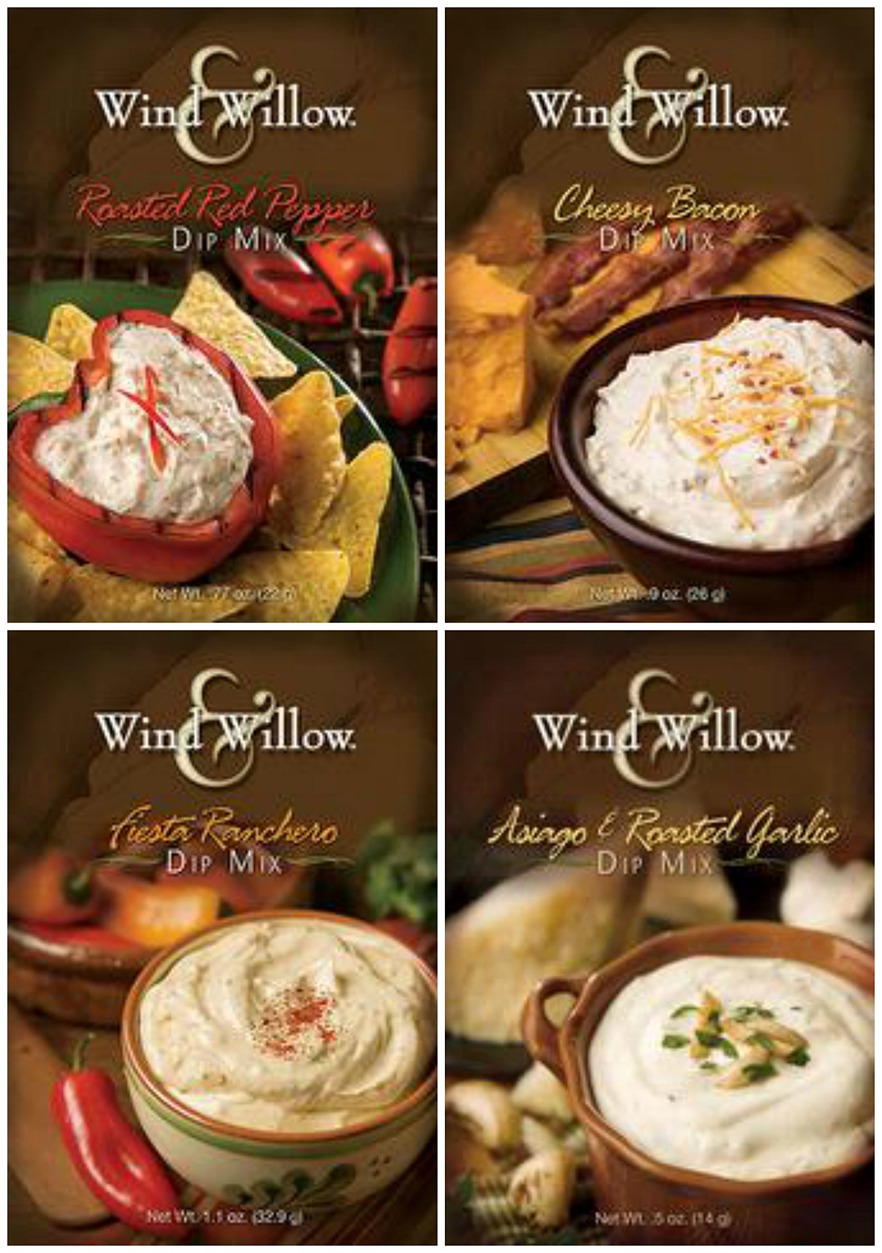 Wind & Willow Dip Mix 4 Flavor Variety Bundle: Cheesy Bacon, Roasted Red Pepper, Asagio and Roasted Garlic, and Fiesta Ranchero (4 Packs Total) by Wind & Willow