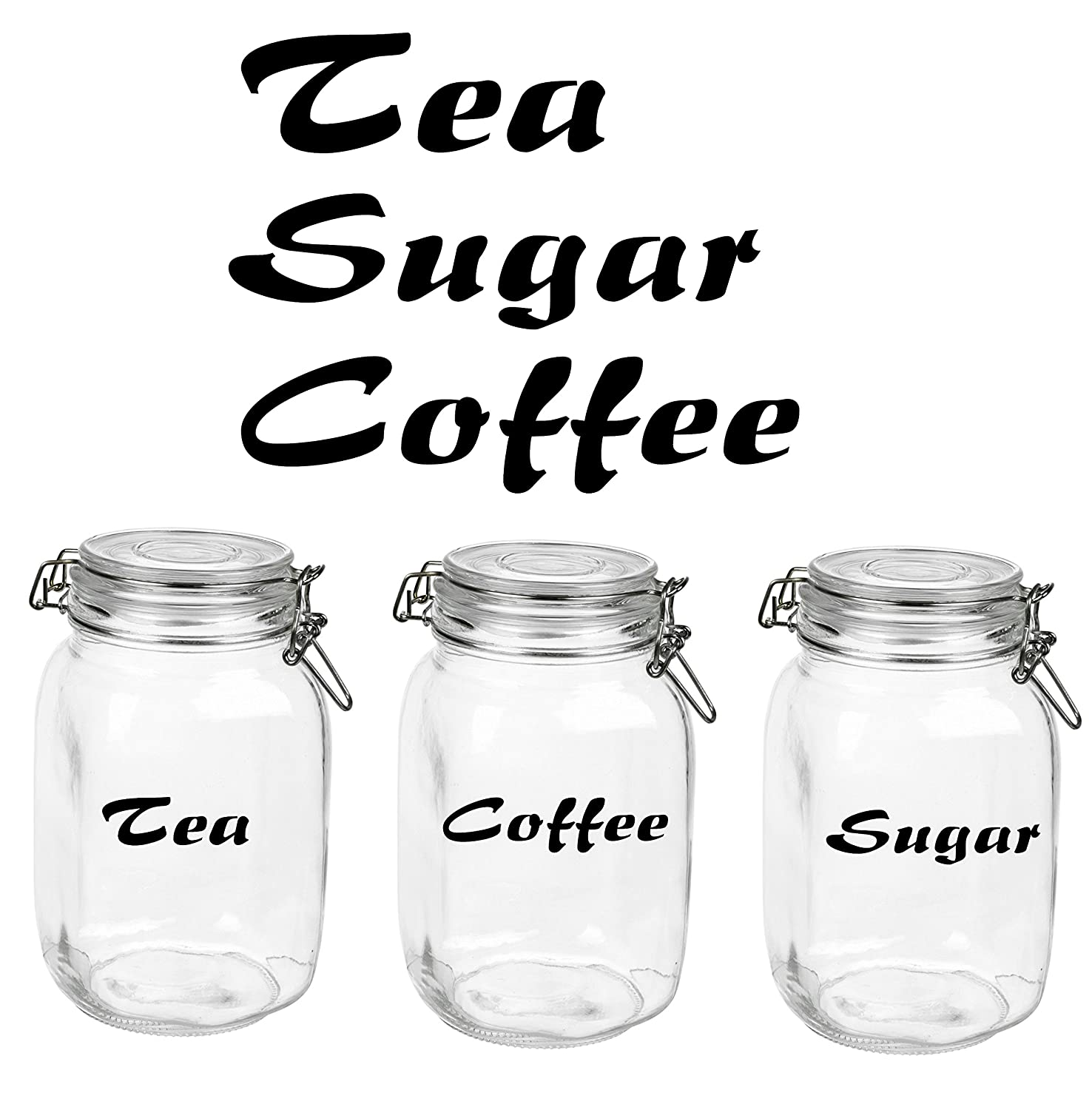 tea coffee sugar glass canister label stickers decals in black
