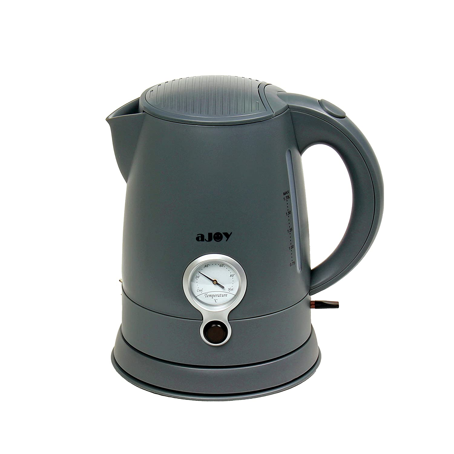 aJOY Professional Designer Series 1.7L Cordless Electric Kettle, BPA Free, 360 Degree Conceal Heating Element, Overheat Protection Control (Grey)