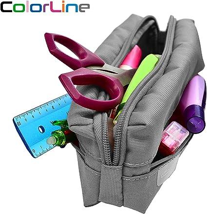 Colorline 58411 - Portatodo Triple Cuadrado Super Resistente, Estuche Multiuso para Viaje, Material Escolar, Neceser y Accesorios. Color Gris, Medidas 22 x 7.5 x 5 cm: Amazon.es: Oficina y papelería