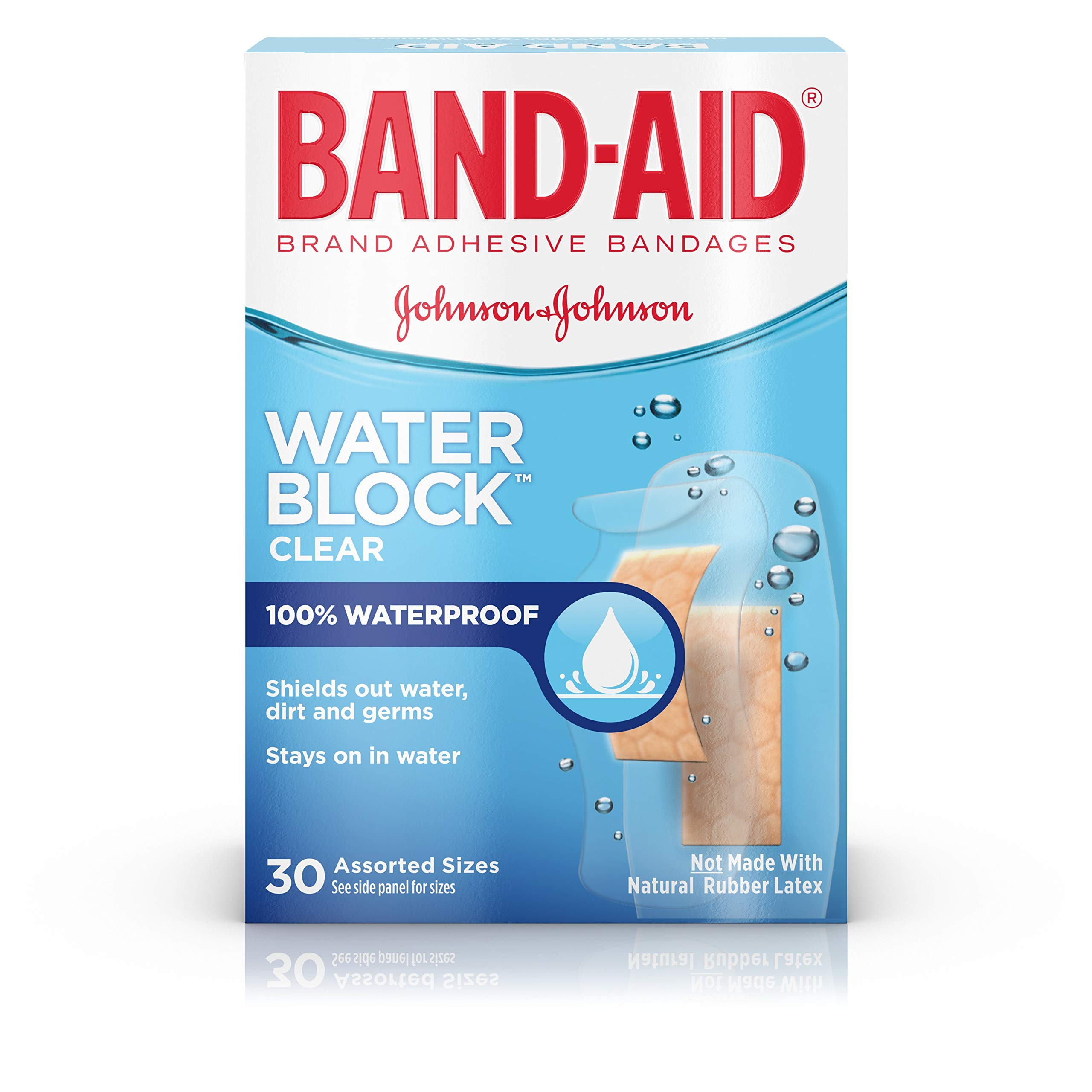 Band-Aid Brand Water Block Plus Waterproof Clear Adhesive Bandages for Minor Cuts and Scrapes, 30 ct (6 Pack) by Band-Aid (Image #1)
