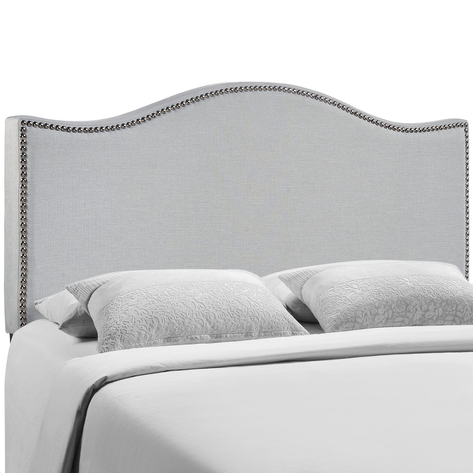 Modway Curl Linen Fabric Upholstered Queen Headboard with Nailhead Trim and Curved Shape in Gray by Modway