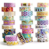 30 Rolls Gold Foil Washi Tape - 15mm Wide Japanese Masking Tape for Scrapbook, Bullet Journal, Planner, Arts & Crafts