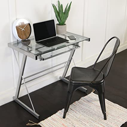 Amazoncom Glass Metal Silver Computer Desk Kitchen Dining