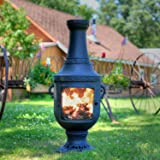 The Blue Rooster Co. Venetian Style Cast Aluminum Chiminea in Charcoal.