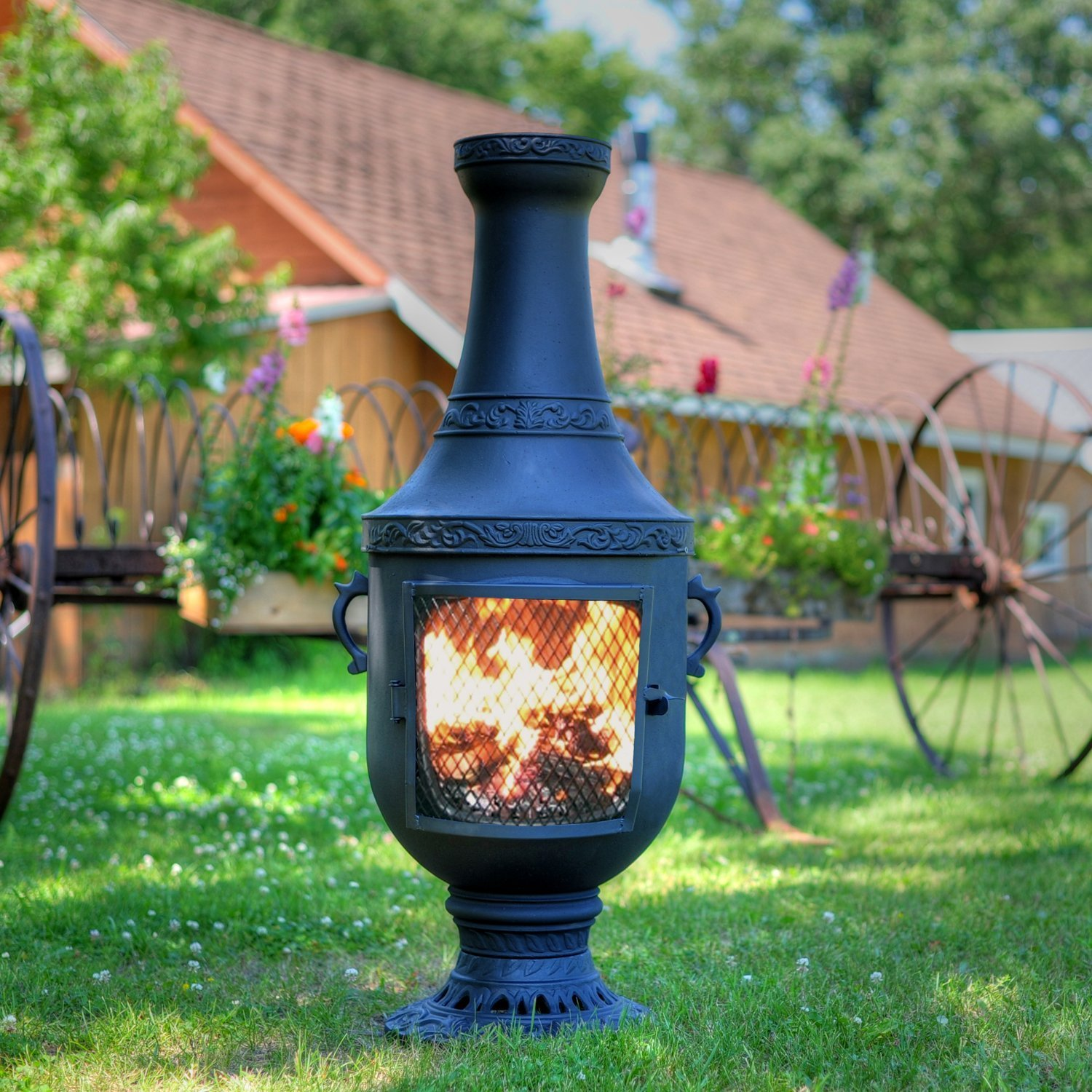 blue rooster alch026ch venetian cast aluminum chiminea charcoal