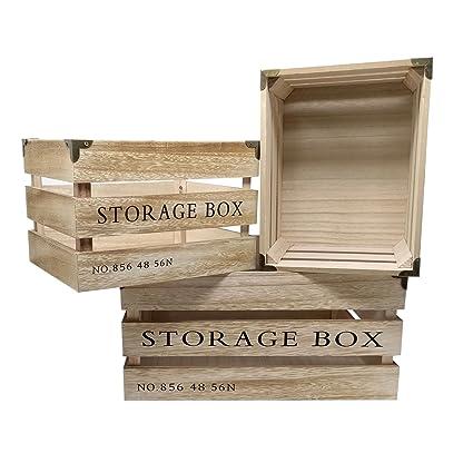 ToCi – Juego de 3 cajas (Madera Storage Box | fruta (cajón-estantería