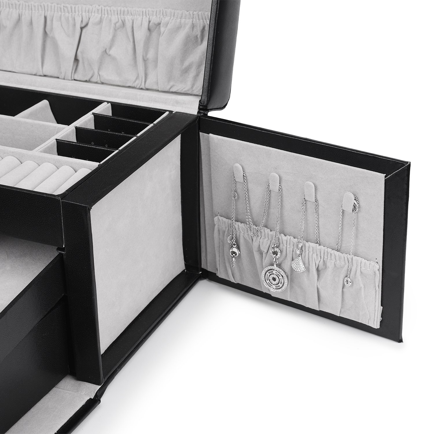Juns Jewelry Box Organizer with Mini Travel Jewelry Case, Removable Trays, For Necklaces, Rings, Earrings, Bracelets, watches, Brooches by Juns (Image #2)