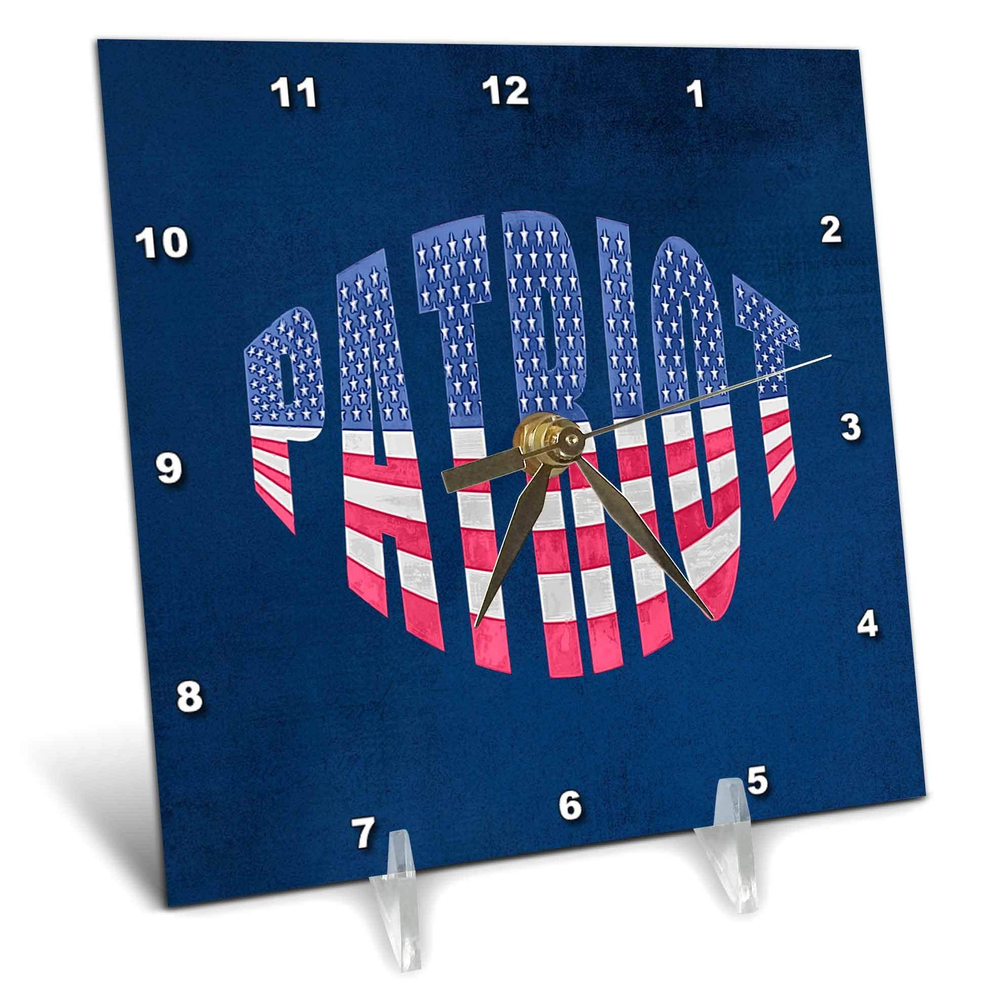 3dRose Andrea Haase Patriotic Art - America Patriotic Typography Flag National Holiday Celebration - 6x6 Desk Clock (dc_282634_1)