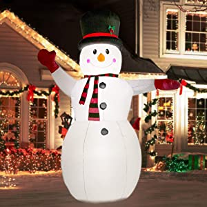 YIHONG 8 Ft Christmas Inflatables Greeting Snowman Decorations, Outdoor Christmas Inflatables with LED Lights for Yard Lawn Décor