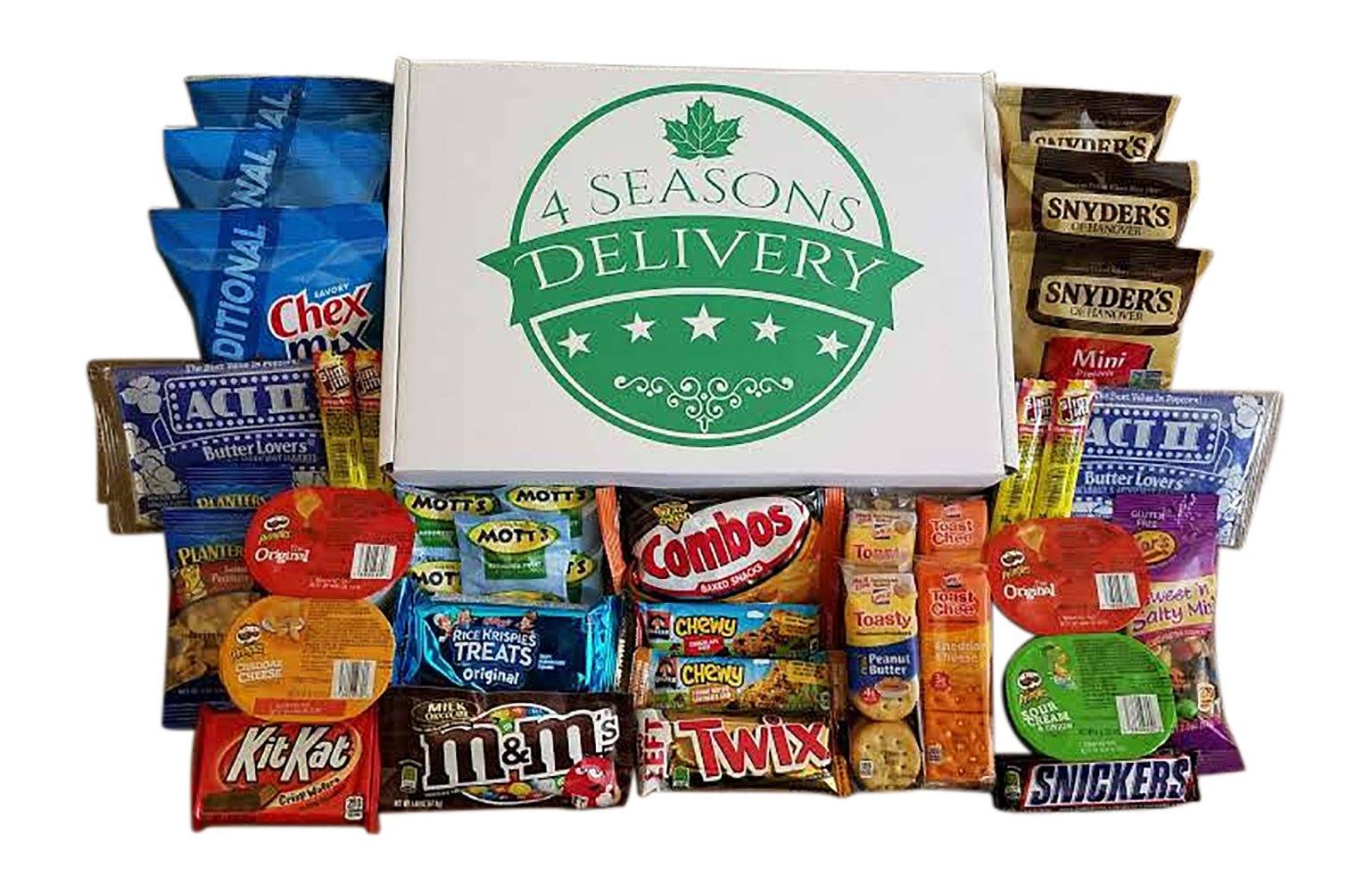 Sweet and Salty Snack Box, College Care Package, Movie Night Snacks, Military Care Package, Birthday and Holiday Gift, 4 SEASONS DELIVERY, 34 Count by 4 SEASONS DELIVERY