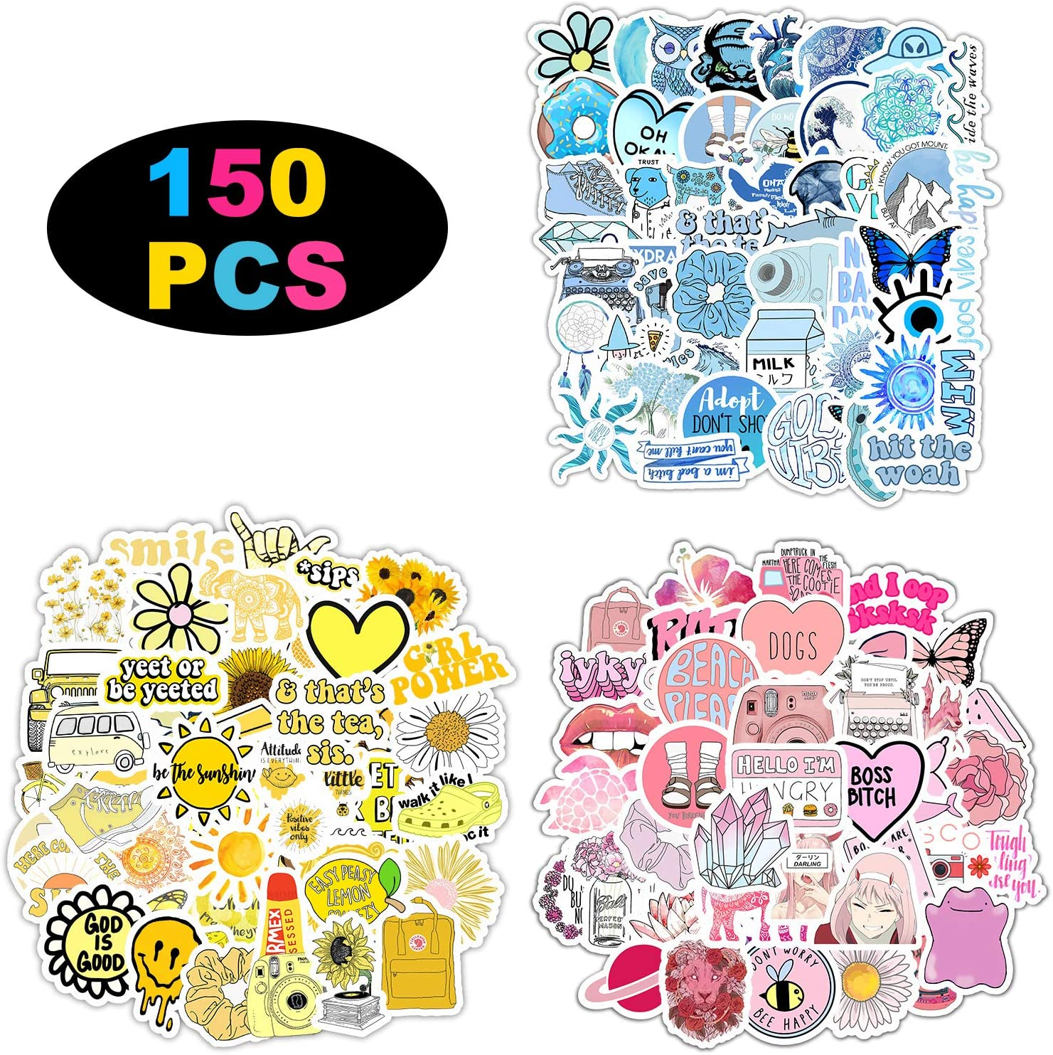 150 Stickers for Children Teens Girls Adults.Fresh and Girly Pink Sticker | Suitable for Water Bottles Laptops Phones Water Bottles Gift Boxes Waterproof Sunscreen Stickers Can Be Pasted Repeatedly