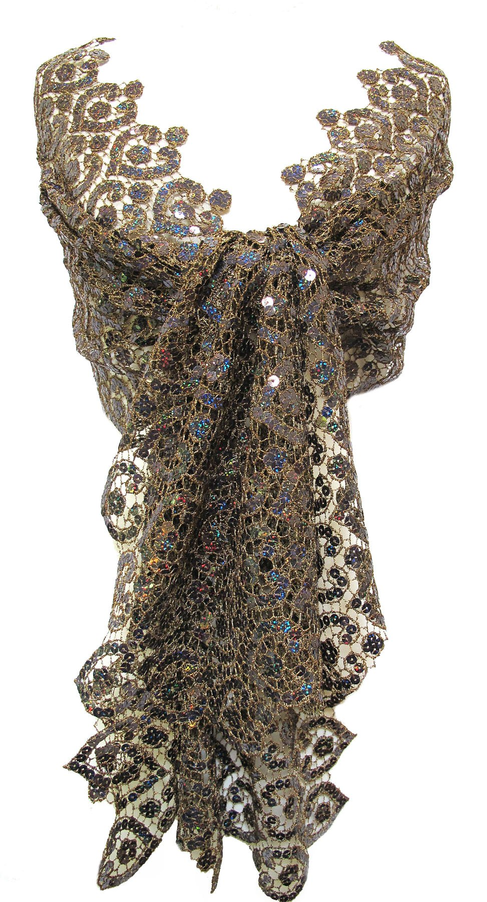 Cut Metallic Lace Sequin Scarf Stole Wrap Shawl Table Runner Dark Bronze Brown