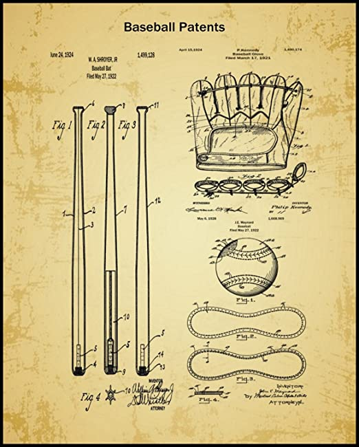 1885 Antique Vintage Official VERY EARLY Baseball Bat Patent Art Print 179