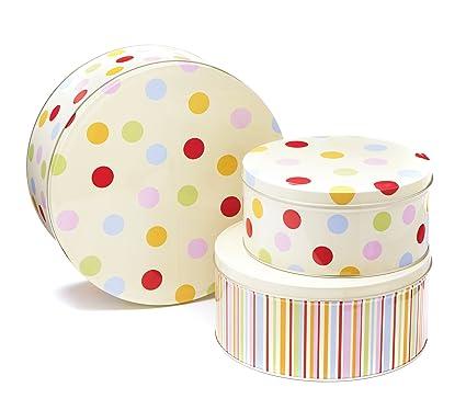 Smartbox Cooksmart - Cajas de lata para pasteles, modelo Spots, juego de 3