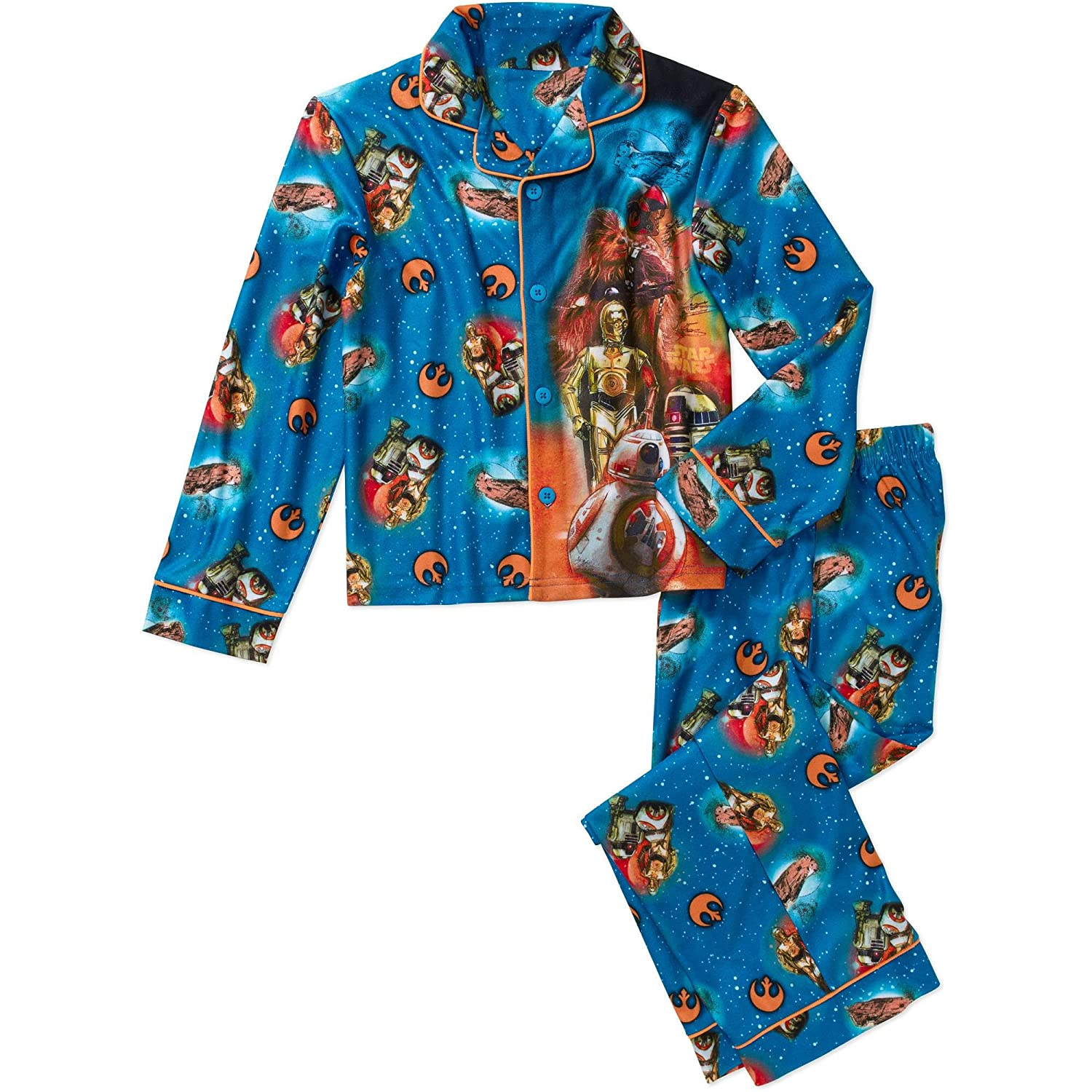 cheap Star Wars Boys Button Front Pajama Coat 2 Piece Sleep Set (6/7) save more