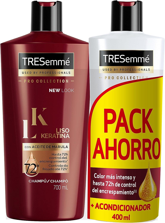TRESemmé Pack con Champú y Acondicionador Liso Keratina - 2 Paquetes de 1.1 l, (4 unidades - 2.2 l in total)