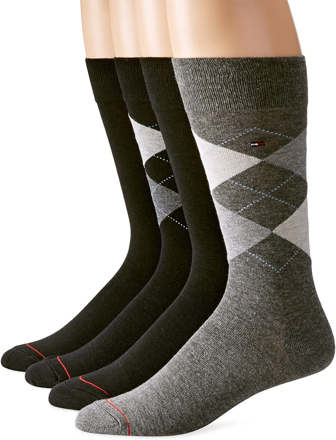 Tommy Hilfiger Men's 4 Pack Argyle Crew Socks