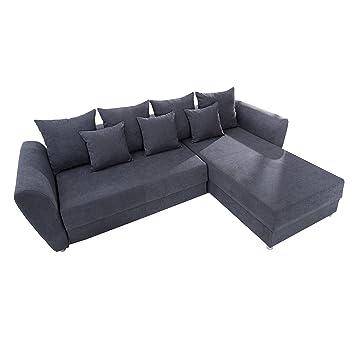 Modernes Ecksofa Palma Soft Baumwolle Grau Federkern Schlaffunktion