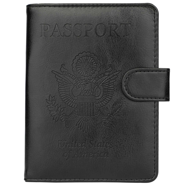 58722ba4b8b9 GDTK Leather Passport Holder Cover Case RFID Blocking Travel Wallet