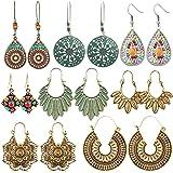8 Pares Aretes De Moda Pendiente Con Bohemio, shoppingjy Aretes Aleación, Earrings Set Retro Estilo Boho