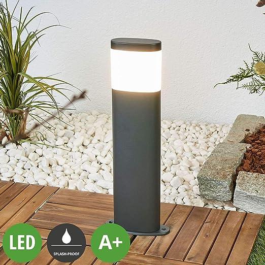 LED Lámpara para exterior Marius (Moderno) en Gris hecho de Acero (1 llama, A+) de Lindby | iluminación de senderos, baliza, iluminación de senderos, farola: Amazon.es: Iluminación