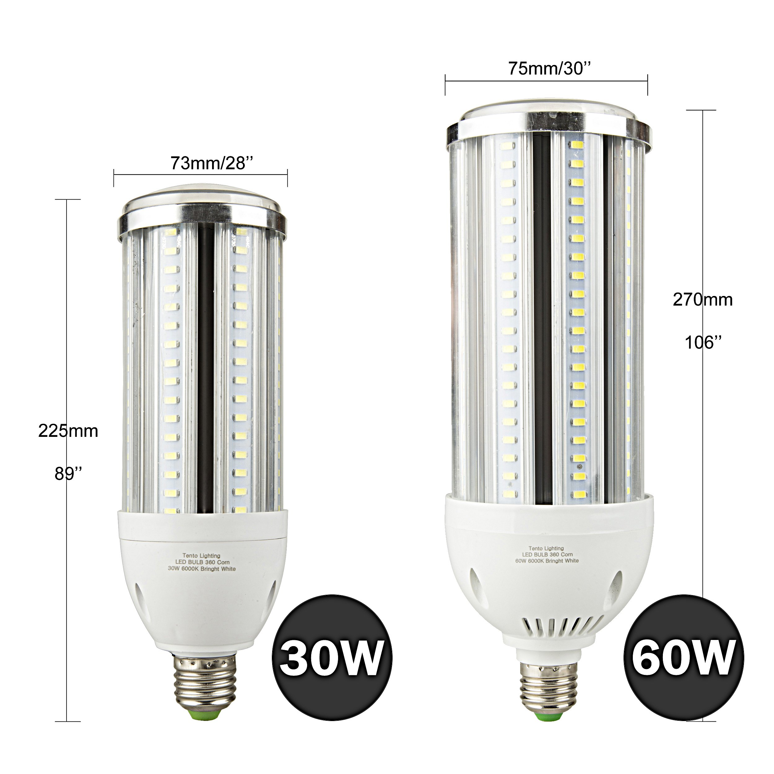 30w LED Corn Bulb E26 Daylight Bright White Light 6000k 3300 Lumens Street Area Light Replacement for Metal Halide HID, CFL, HPS by tento (Image #5)