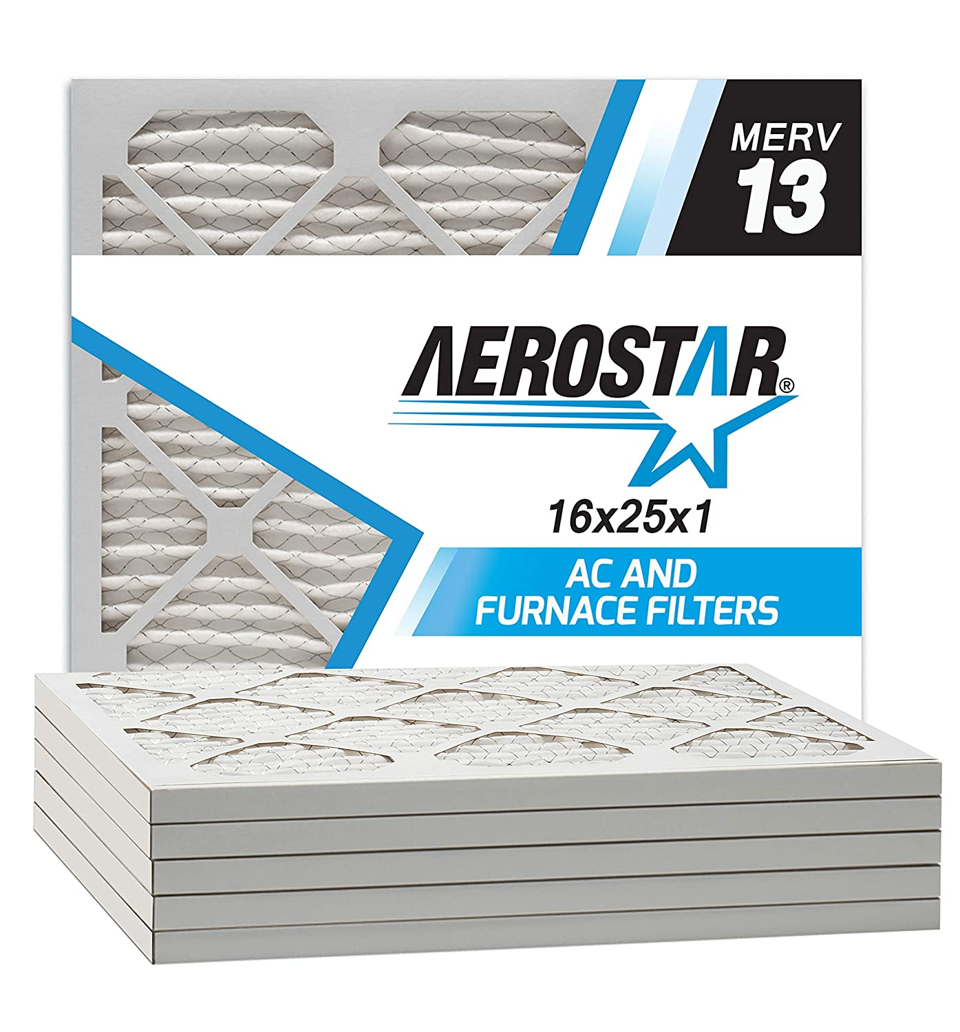 Aerostar 16x25x1 MERV 13 Pleated Air Filter, Made in the USA, 6-Pack