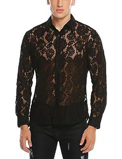 d2137b4c4213 Jinidu Men's Sexy Lace See Through Mesh Long Sleeve Slim Fit Dress Shirt
