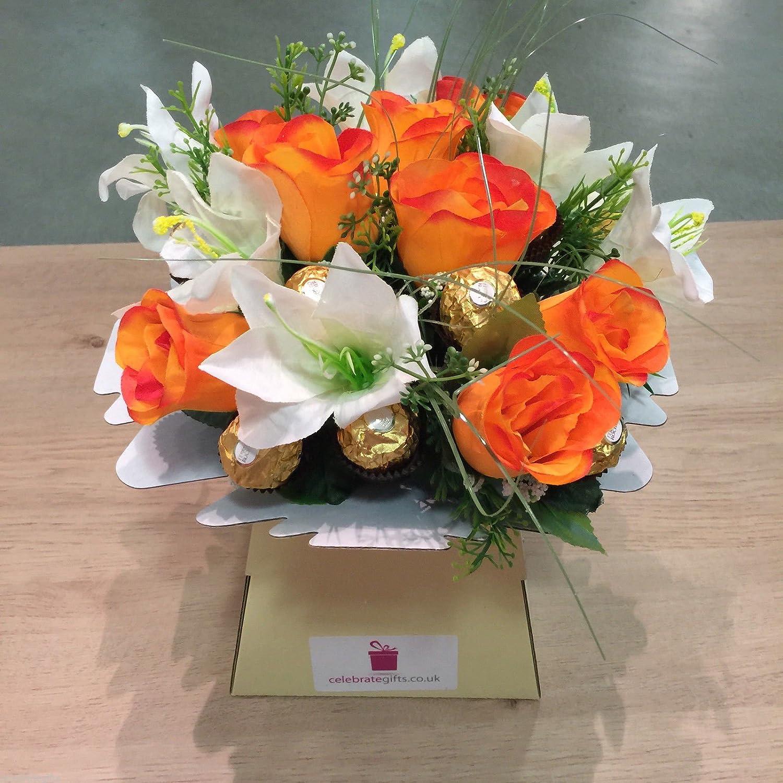 Luxury silk orange roses lilies and ferrero rocher chocolate luxury silk orange roses lilies and ferrero rocher chocolate bouquet amazon grocery izmirmasajfo Images
