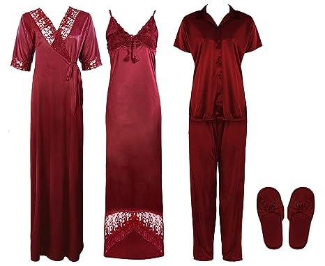 42a74f981d Ladies 5 Piece Satin Pyjama Set Womens Vest Lace Shorts PJ'S Nightwear  Nightdress Robe-Deep